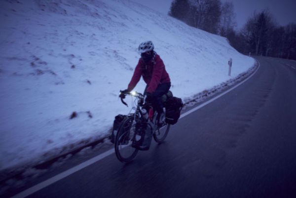 Cycling through a blizzard