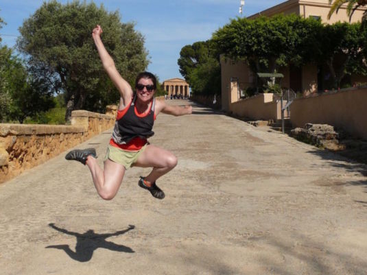 The classic jumping picture in the ancient temples of the Greek gods.