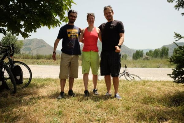 My excellent cycling Air BnB hosts in Korcë