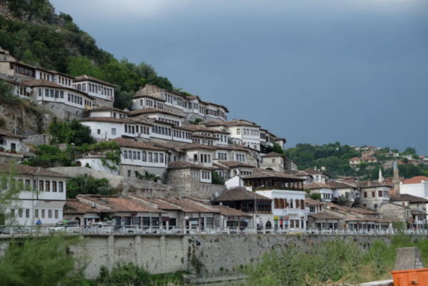 "Berat, the 'town of a thousand windows"". I did not count the windows to verify this fact."