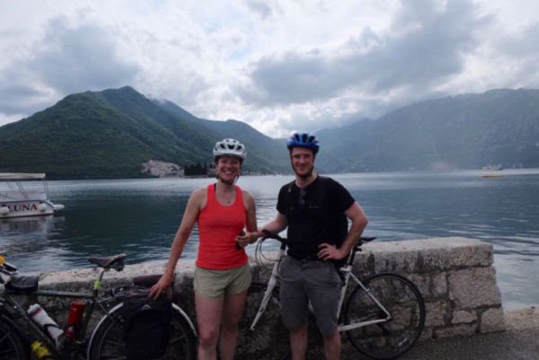 Alice and big brother Sam cycling around the bay of Kotor
