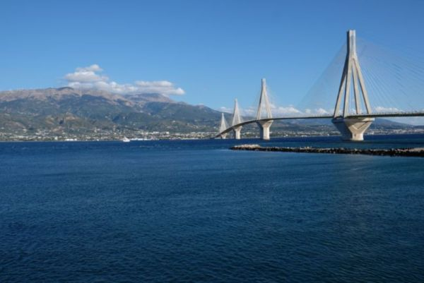 The Rio-Antirrio bridge over the the Peloponnese peninsular
