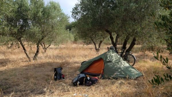 Wild camping in the olive groves