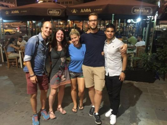 The accumulated solo travellers from Athen's Choice Hostel, Jonas, Alice, Ashley, Jeremy and Camilo