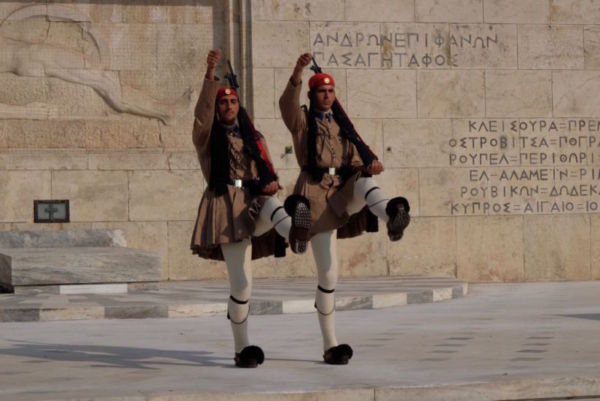 The infamous changing of the guards in Athens. I think these guys missed an opportunity to be tap dancers. They would have more creative freedom than the stilted movements of a Greek guard, but they would still get to wear the same shoes.