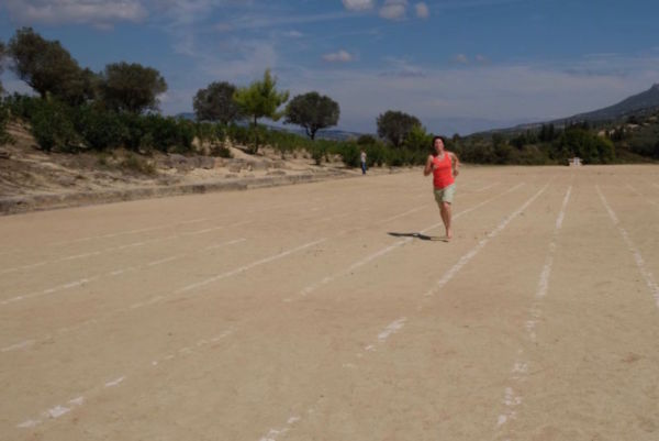 The Olympic stadium at Nemea. Nemea hold their own Olympics here in June every four years, open to anyone to complete as long as they run in bare feet! By the sounds of the descriptions of the games it is quite a jolly family festival