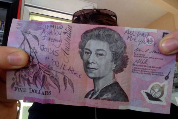After many days of laughter and sharing of stories, my new found friends signed an Australian $5 with promises to send them a photo of myself and the Sydney-based Jeremy, buying a beer and chicken wings with it in Sydney. Jeremy ensures me it is a $5 deal. Heres hoping there is no major Aussie inflation in the next year.