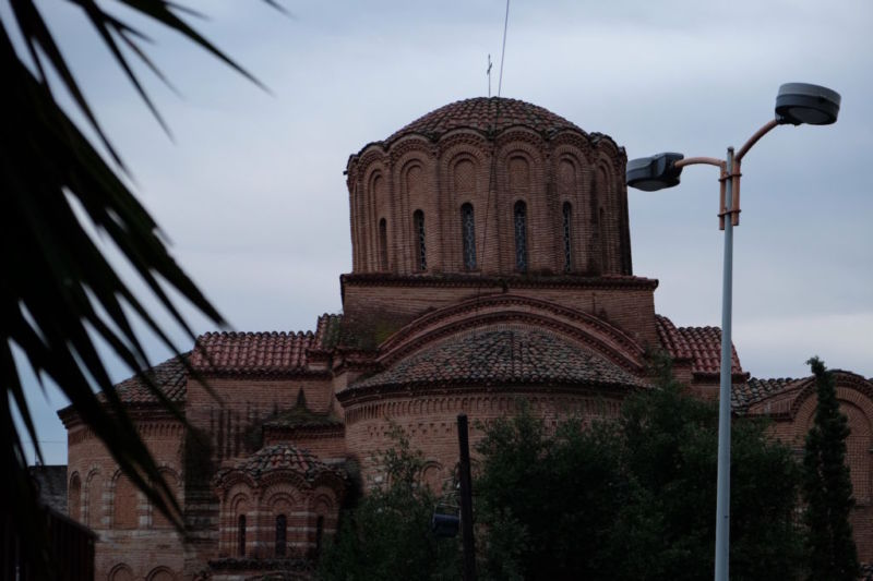 A wonky church in Thessaloniki, as shown to us on an excellent Free Walking tour of the city