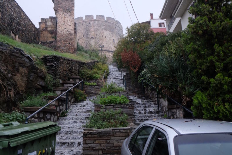 In Thessaloniki I was treated to bucketing rain in a city with very limited drainage systems. I tried cycling up a hill and it was like cycling upstream with a 10cm deep torrent of water pushing back at me. I thought walking would be a better option, but it was equally challenging trying to walk up any steps in the city, as you can see from the picture!