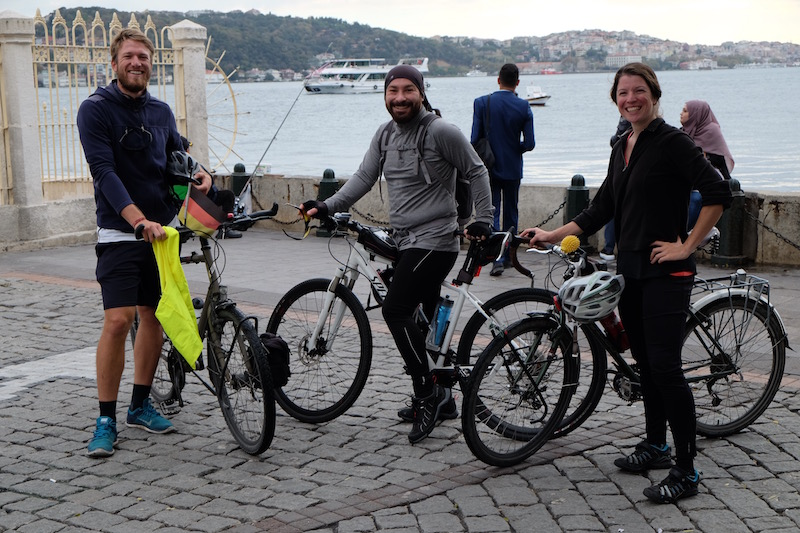 Tobi and I having an excellent guided cycle up the Bosphorus with Mahmud, who I met through Warm Showers