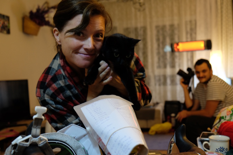 "Sema, the lady who started the ""Fancy Women on Bikes"" movement in Turkey four years ago, accompanied by her captivating cat Capul and the list of Turkish vocabulary for me to learn on the bike"