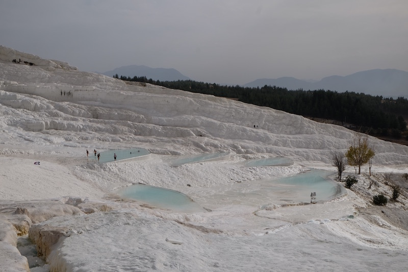 The rather moon-like hard chalk terraces at Pamukkale