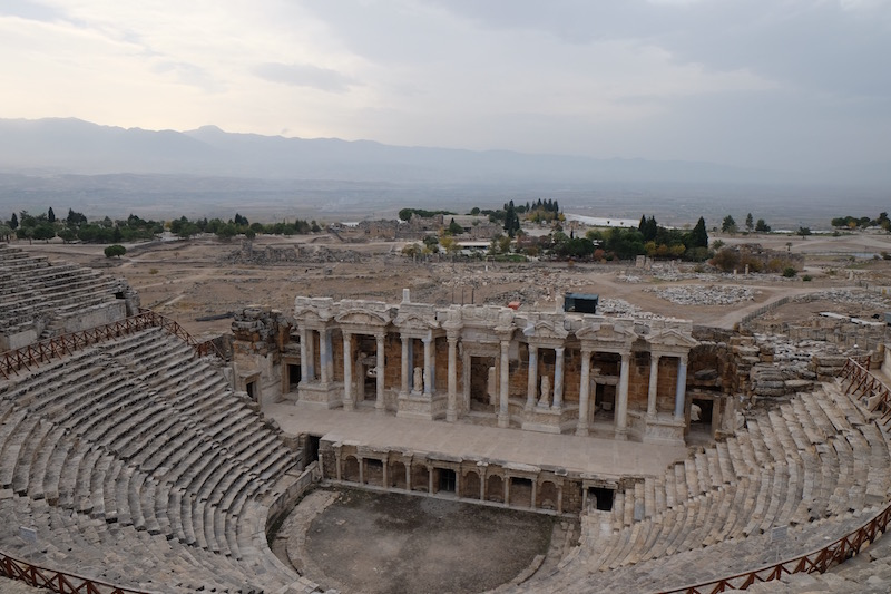The theatre at Hierapolis, the ancient city lying above the hard chalk terraces