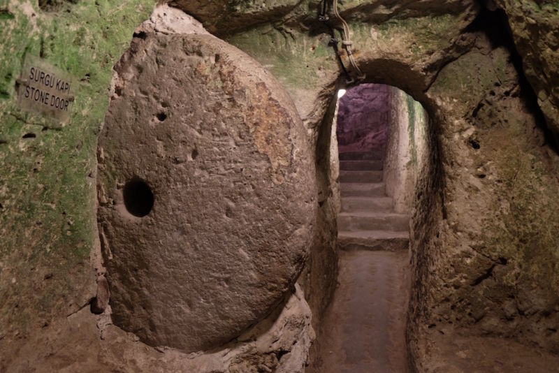 One of the stone doors to cover the passage in the Derinkuyu underground city